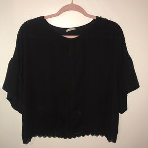 Black Sheer Blouse with Lace Details